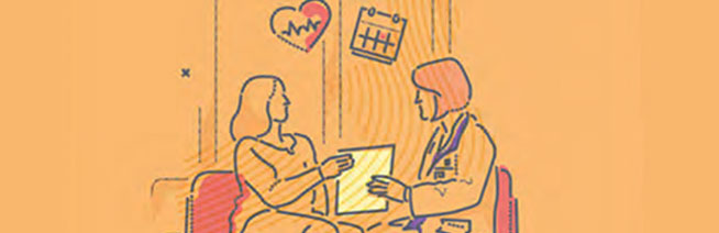 A doctor and patient reviewing a document together