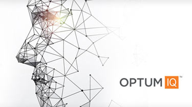 Abstract image of a person's side profile with OptumIQ logo to the side