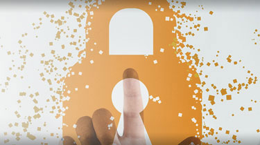 Abstract image of a pointed finger under an orange overlay of a large padlock